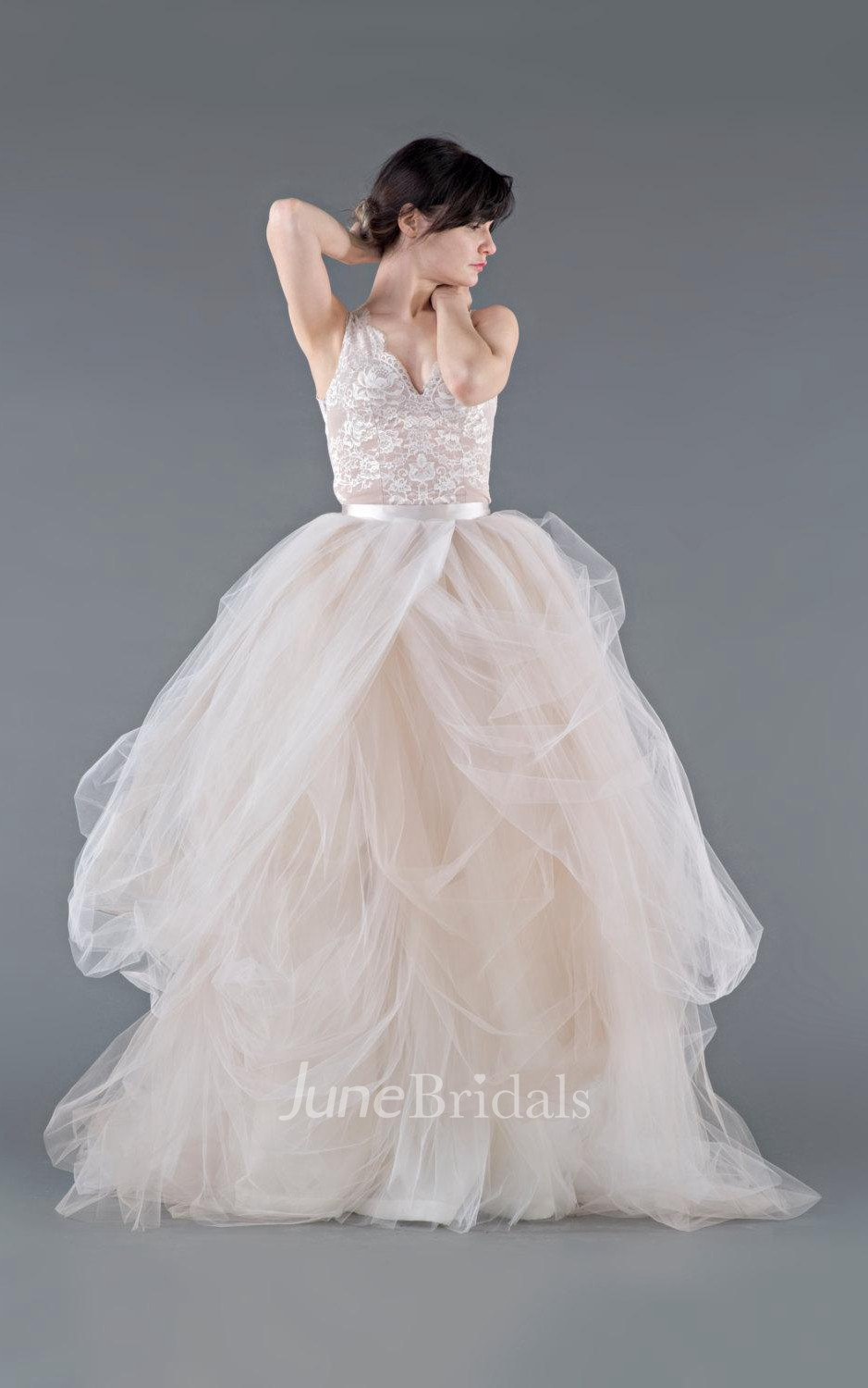 Tulle lace organza weddig dress with button zipper june for Tulle and organza wedding dresses