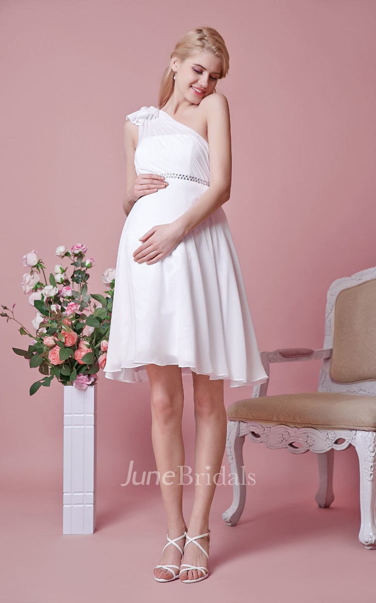 short maternity wedding dresses one shoulder empire waist chiffon maternity wedding 7353