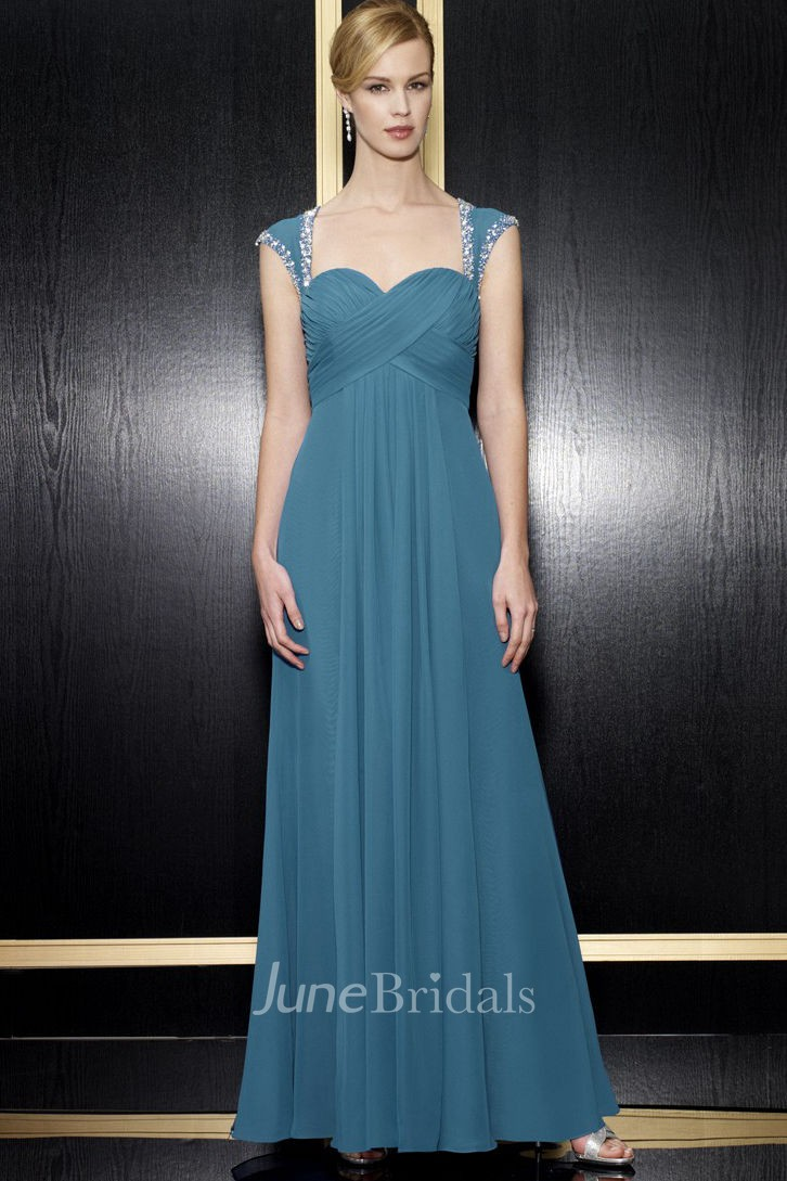 A Line Floor Length Empire Queen Anne Criss Cross Chiffon