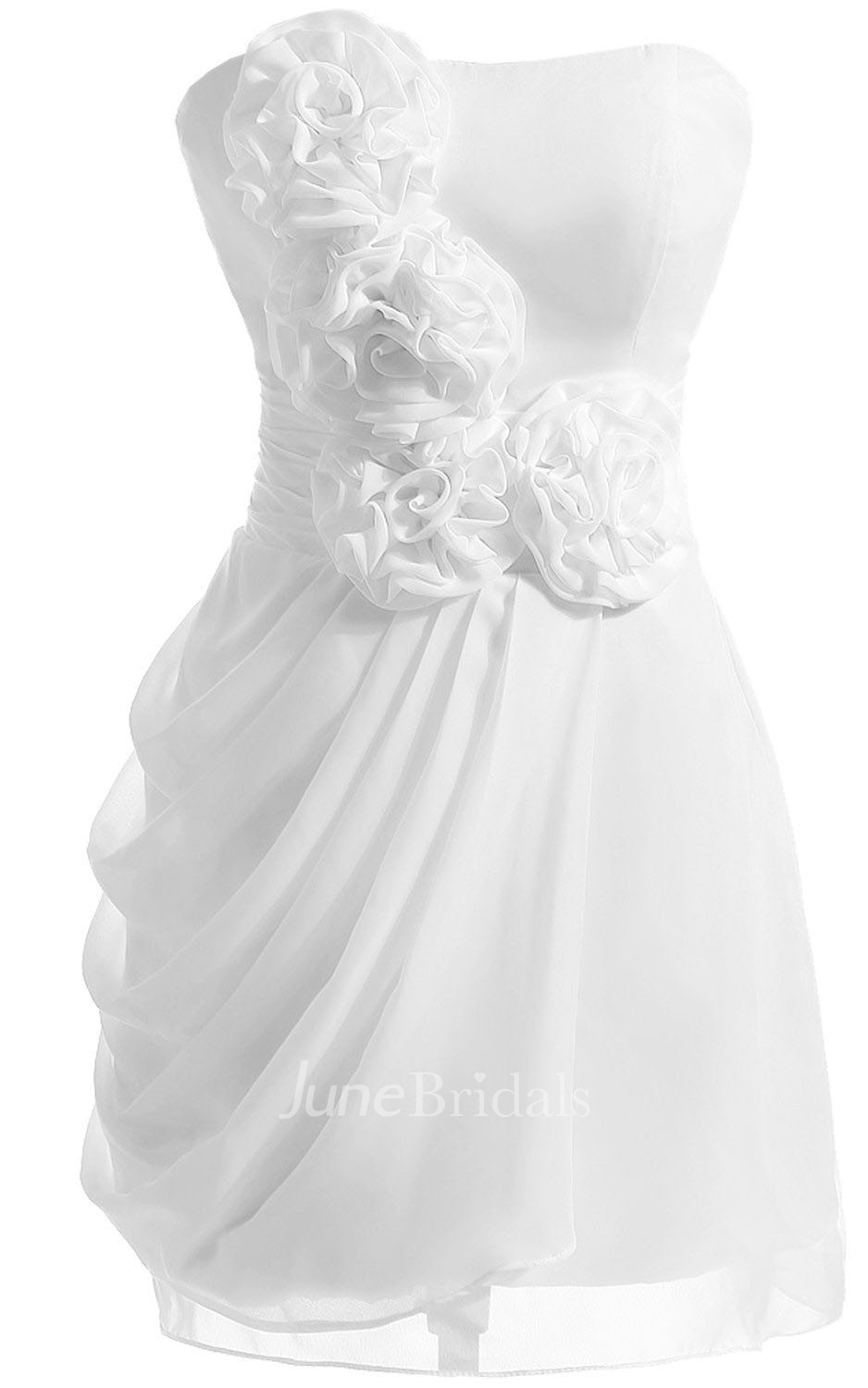 Strapless Floral Appliqued Short Ruffled Chiffon Dress