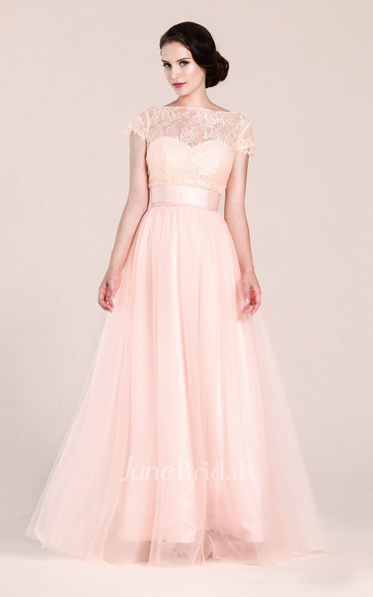 Short-sleeved A-line Long Dress With Illusion Neckline - June Bridals