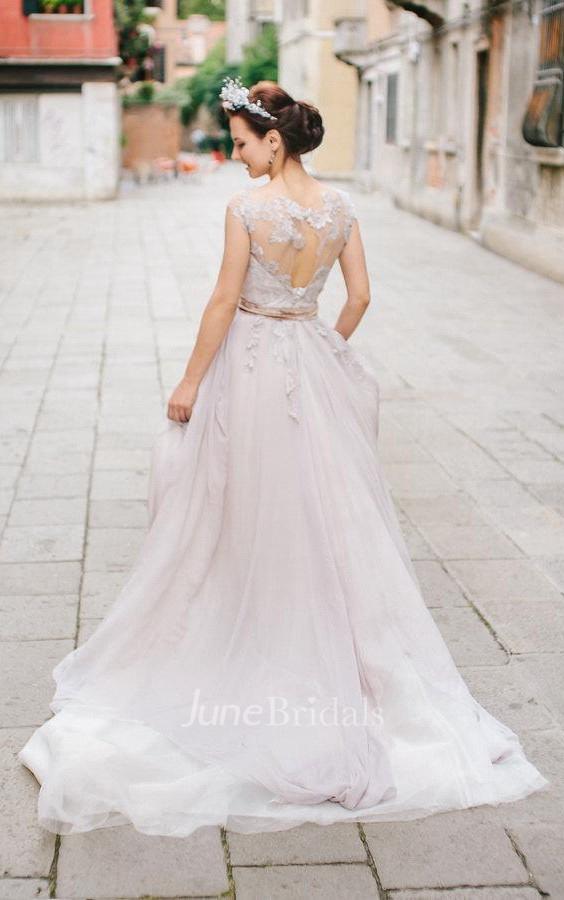 de3a320aca21e Romantic Lace Wedding In Lavender Shade Dress - June Bridals