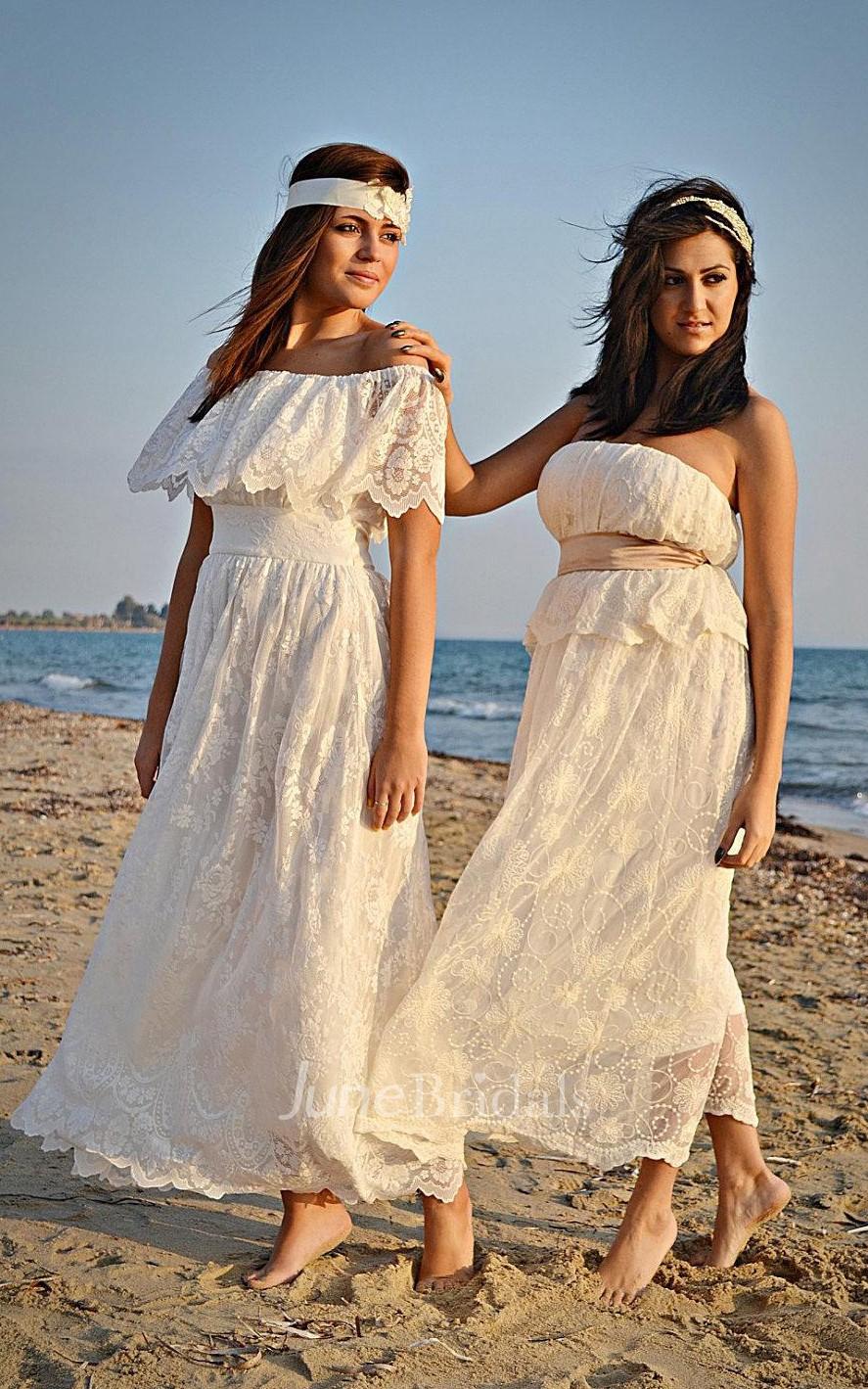 Boho off the shoulder empire anckle length lace wedding for Off the shoulder bohemian wedding dress