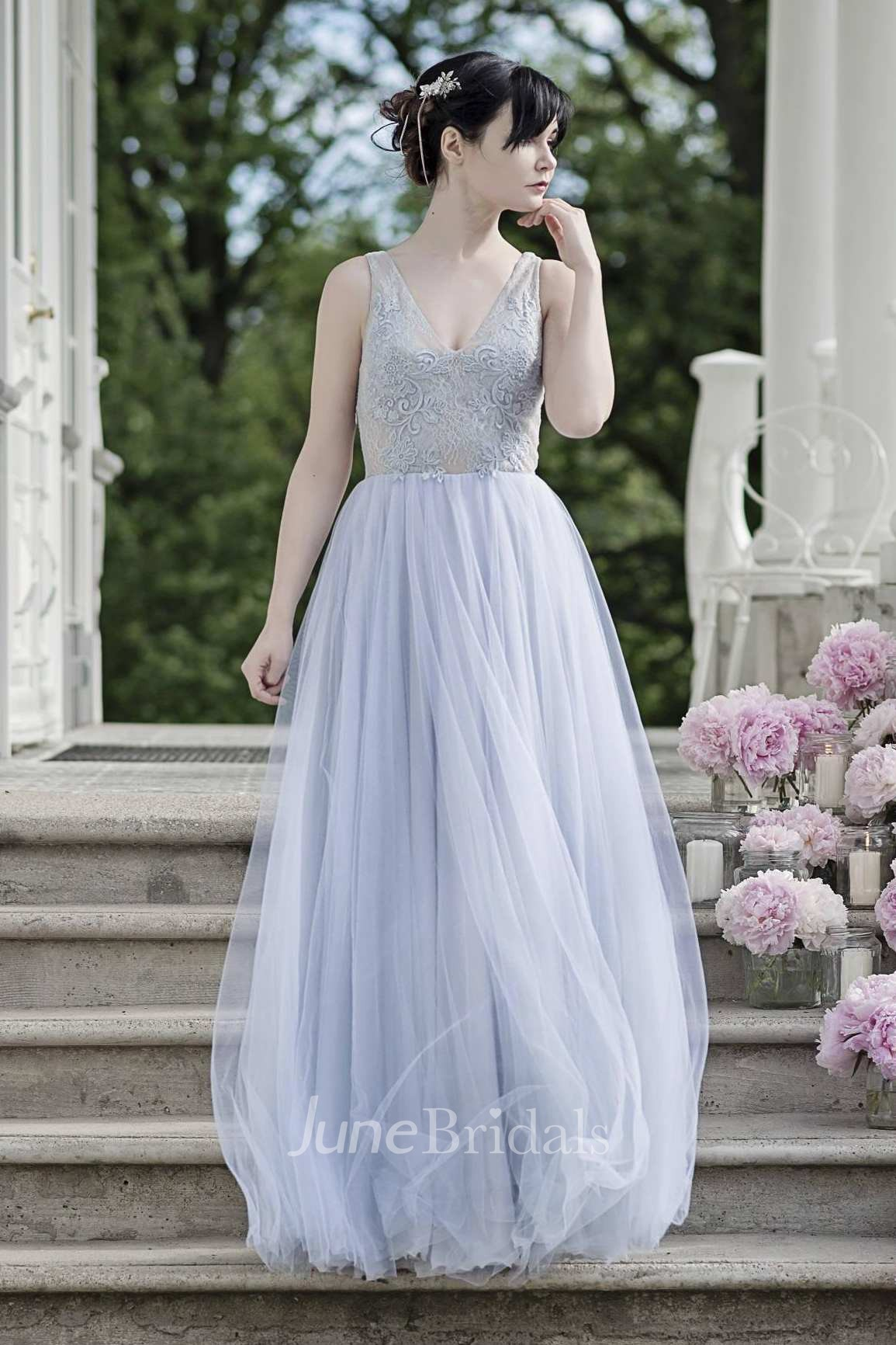Chiffon tulle satin lace embroidered wedding dress june for Chiffon tulle wedding dress