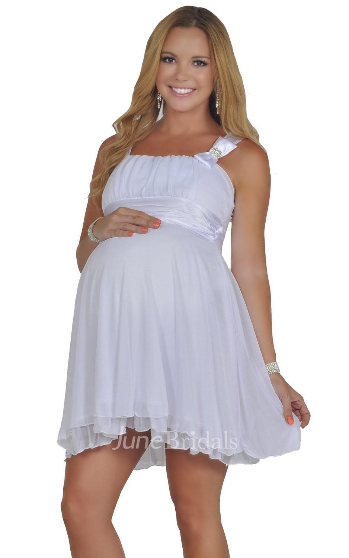 Sleeveless Short Pleated Layered Chiffon Maternity Dress