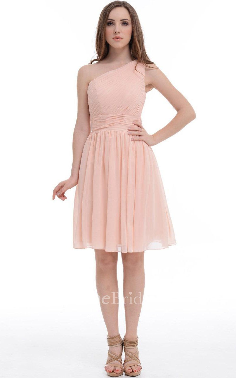 A Line Short One Shoulder Chiffon Amp Satin Dress With Ruffles