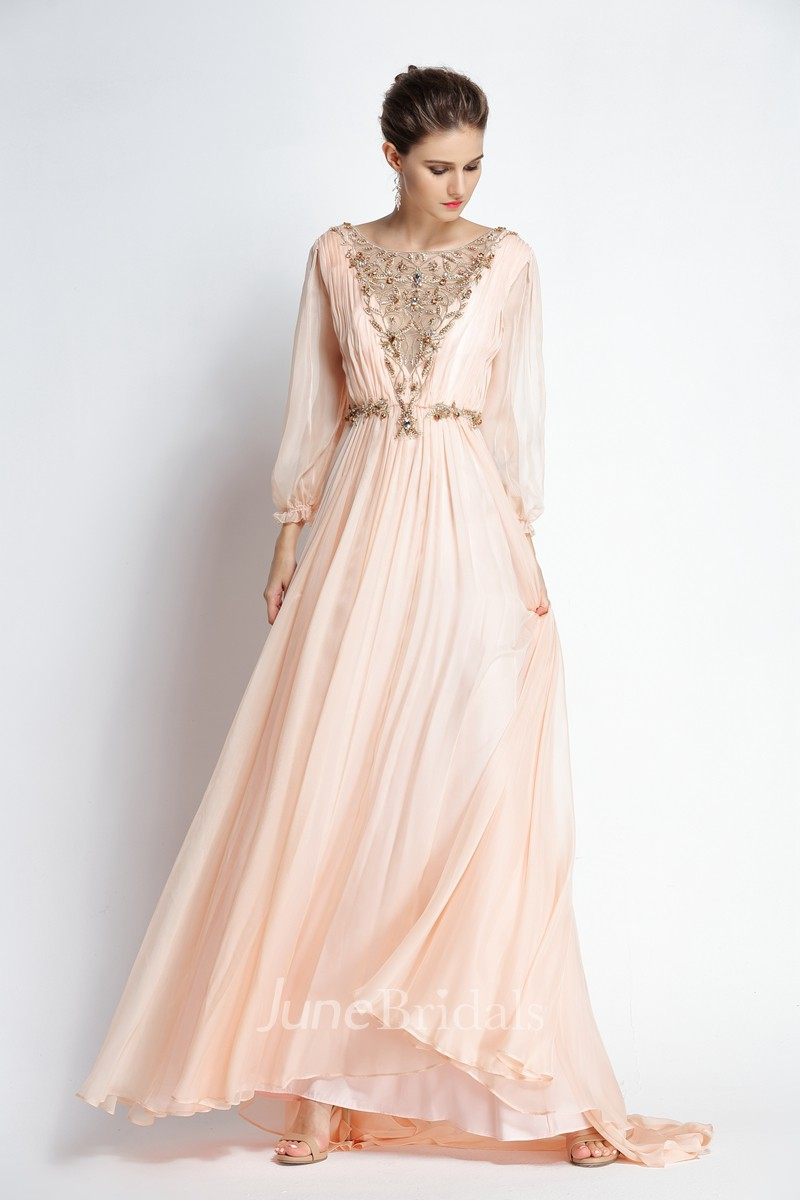 A Line Bateau Puff Balloon Long Sleeve Floor Length