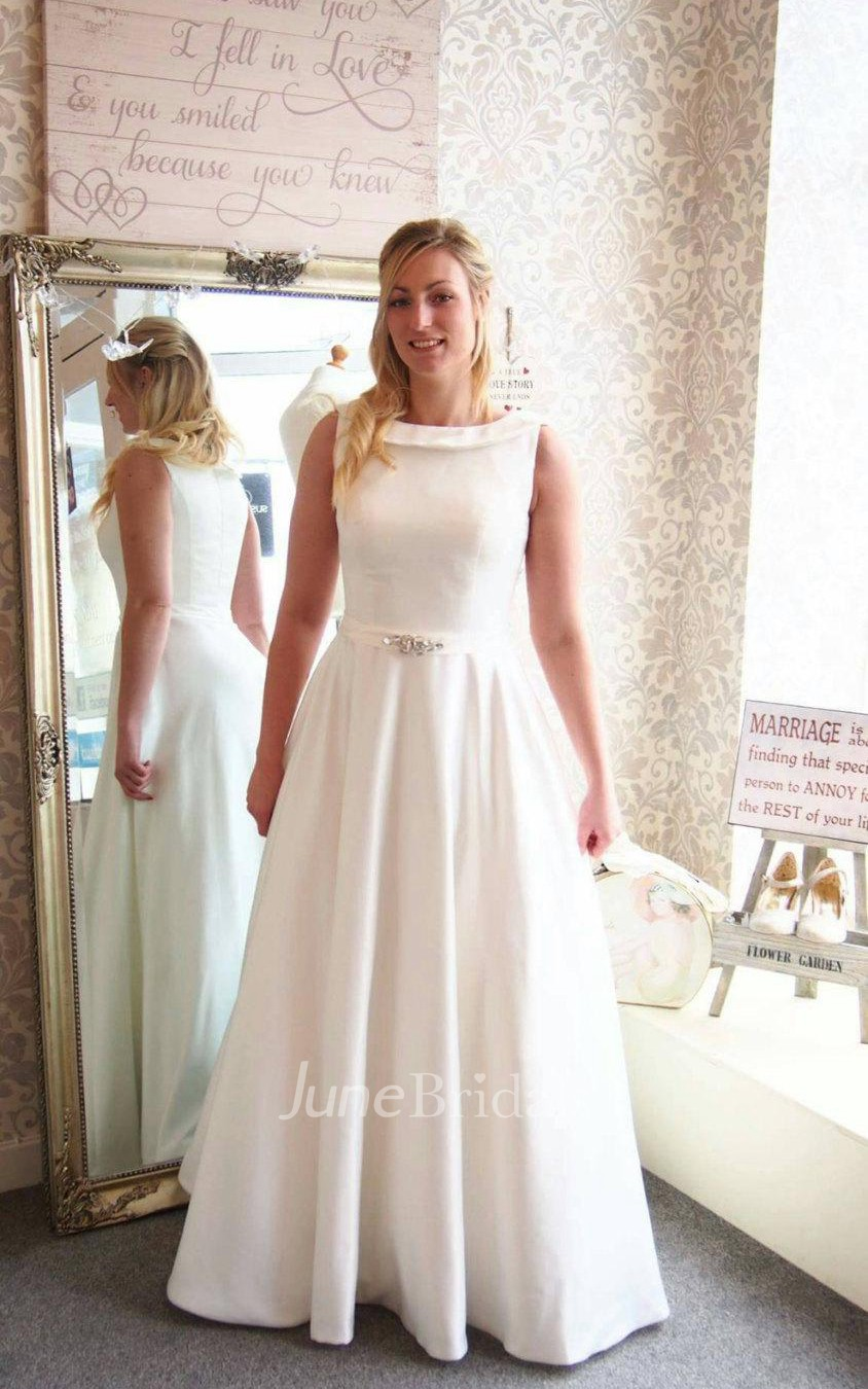 Full length a line satin wedding dress with beaded sash for Plus size after wedding dress