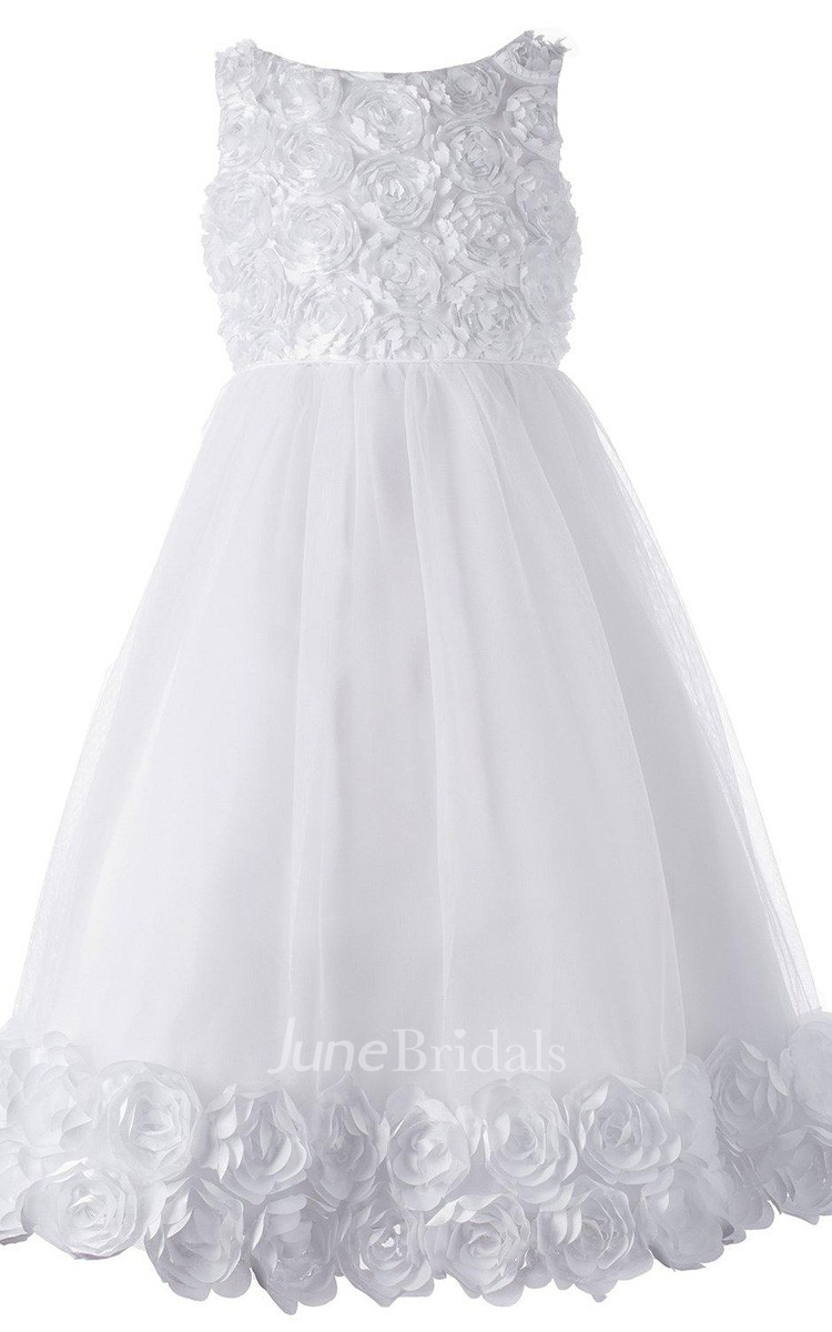 Sleeveless A Line Tulle Dress With Flowers And Pleat
