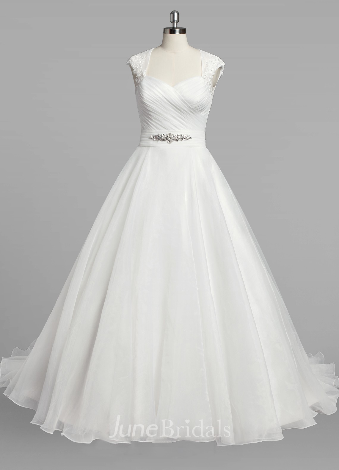 Queen anne neck cap sleeve a line organza wedding dress for Queen anne neckline wedding dress