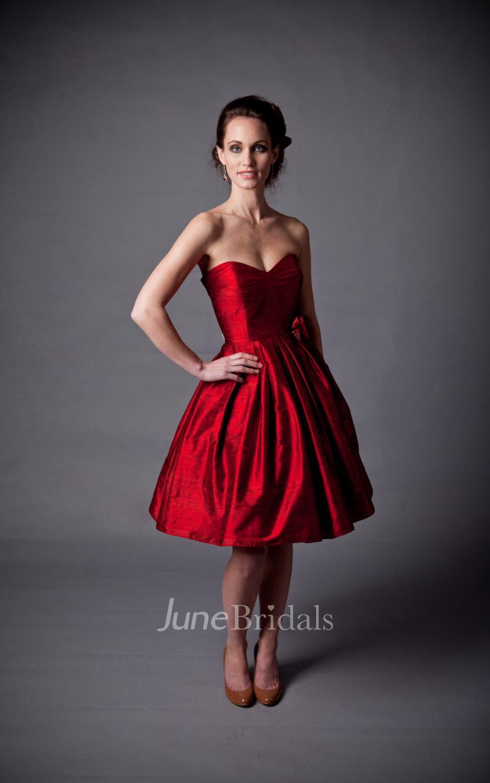Sweetheart empire knee length taffeta wedding dress with for Taffeta wedding dress with pockets