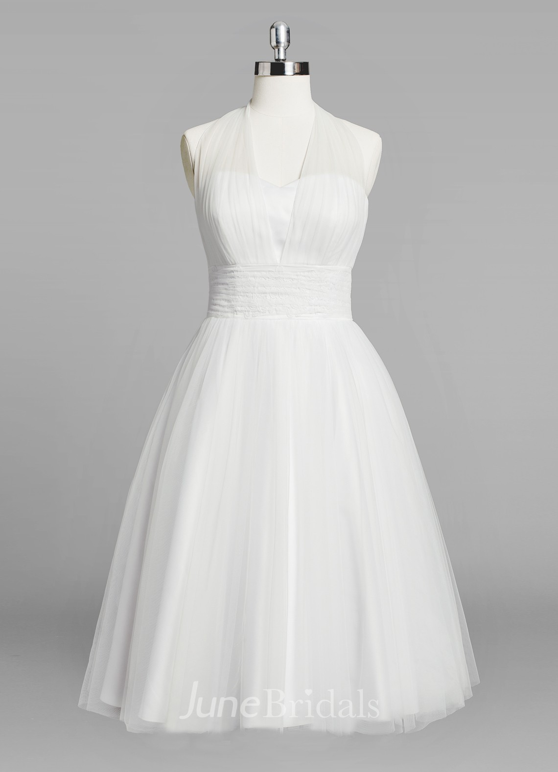 Halter a line short tulle wedding dress with ruching for A line wedding dress with ruching