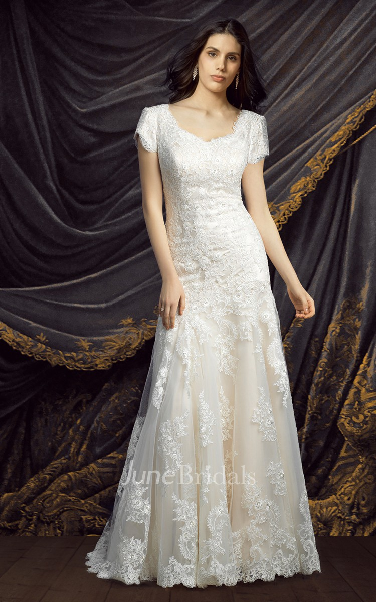 Modest short sleeve lace wedding dress june bridals for Old lady wedding dresses