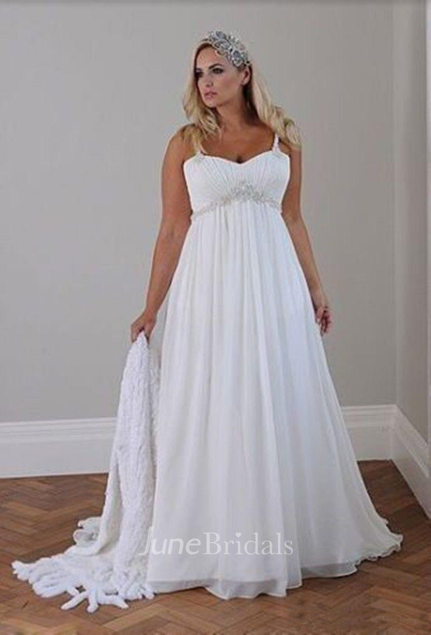 Plus size spaghetti strap crystal beaded chiffon beach for Chiffon plus size wedding dresses