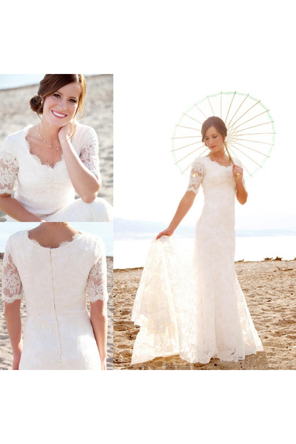 9e3de7566629 Modest Short Sleeves Beach Garden Elegant Lace Mermaid Bridal Gown with  Pearls - June Bridals