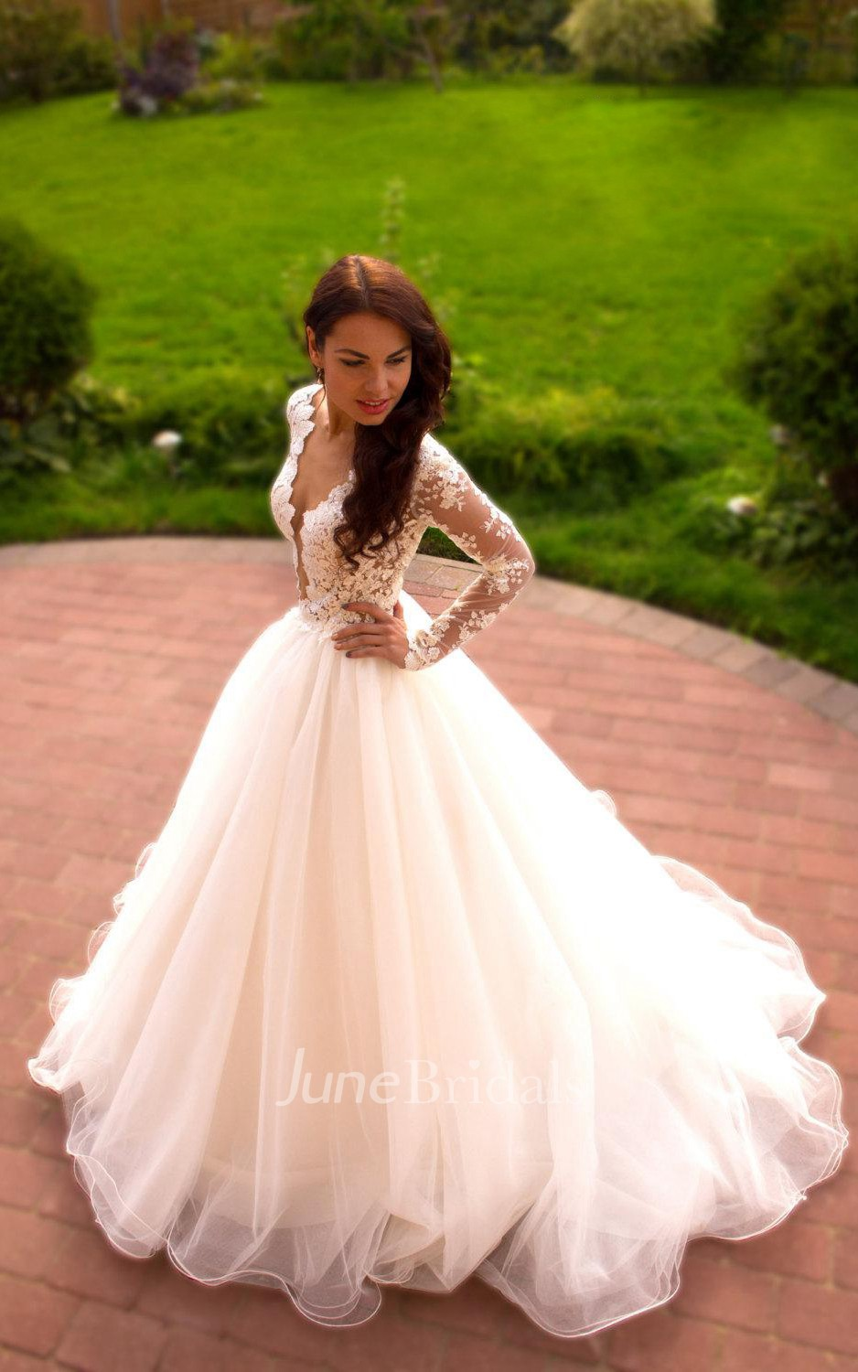 Long Sleeve Tulle Lace Dress With Beading Illusion Button ...