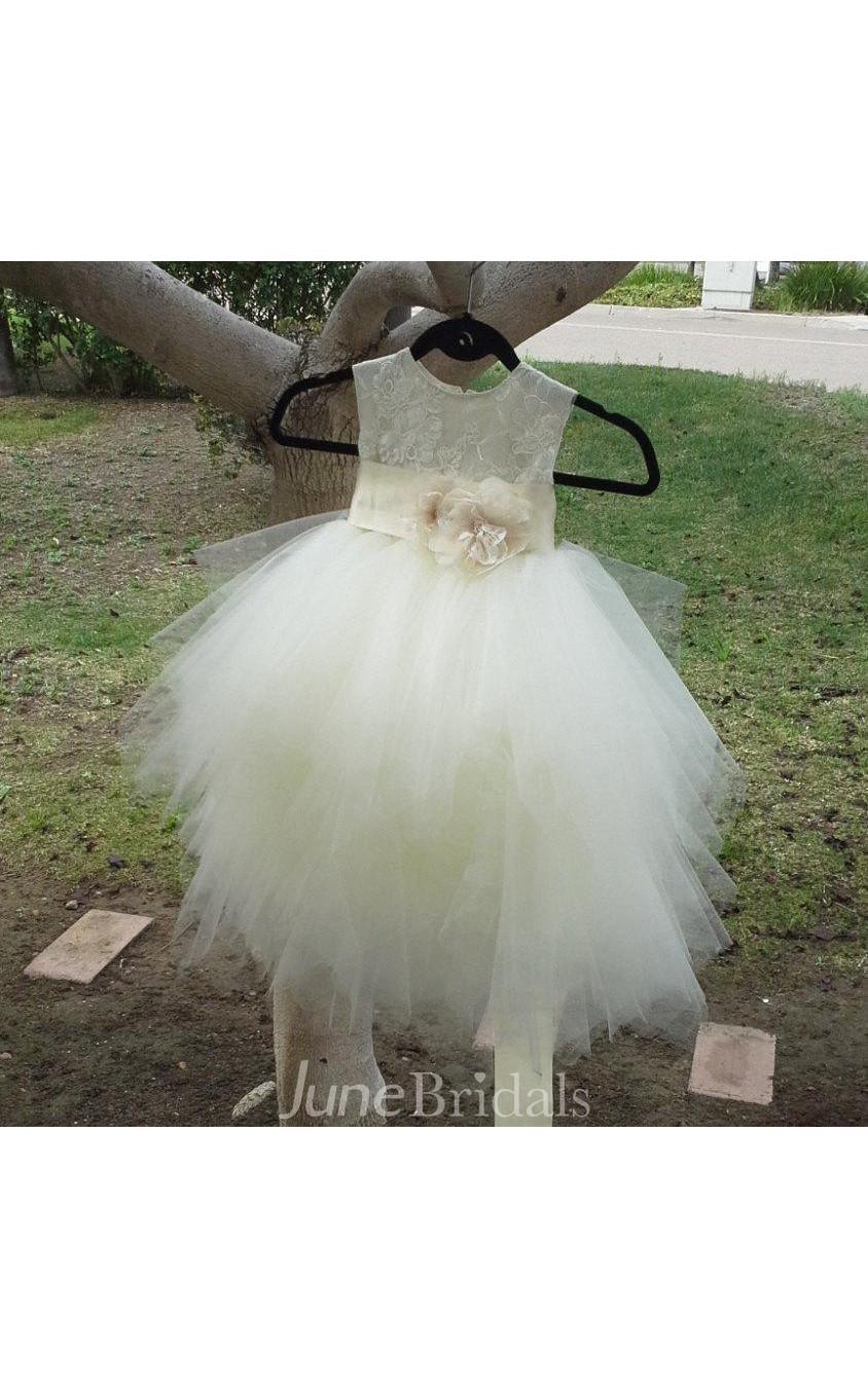 4b0c8b748c5 Sleeveless Ivory Poufy Tulle Skirt With Lace Bodice and Satin Sash - June  Bridals