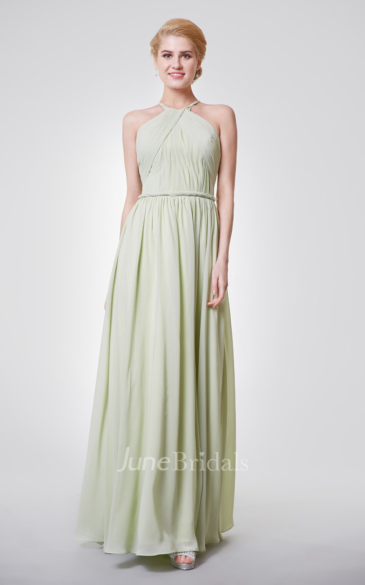 Halter Chiffon Evening Dress with Sexy Back - June Bridals
