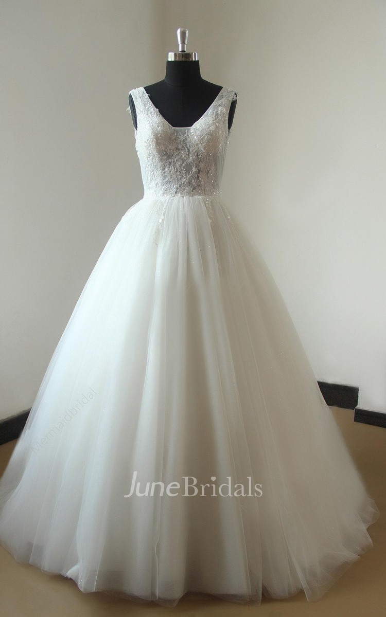 Ball Gown Tulle Lace Weddig Dress With Beading June Bridals