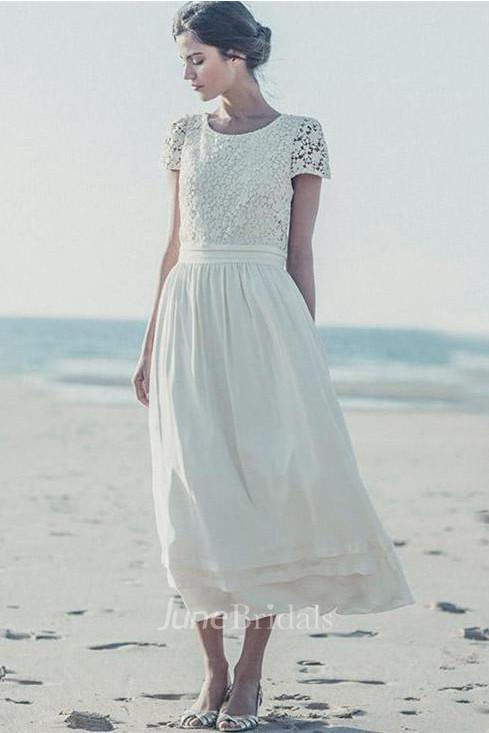 4e129e86a6d0 Newest White Lace A-line 2018 Wedding Dress Cap Sleeve Tea Length Jewel -  June Bridals