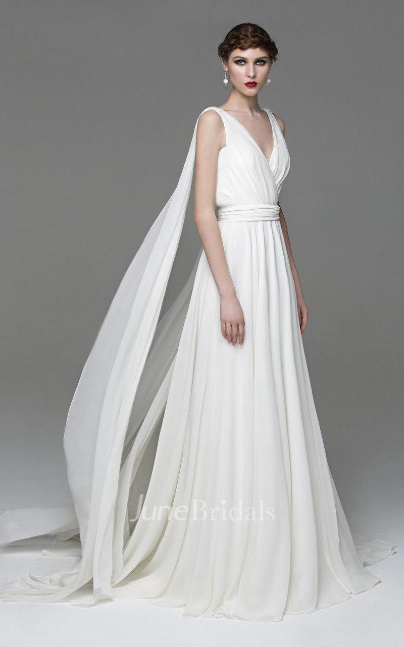 V Neck Sleeveless A Line Chiffon Wedding Dress With