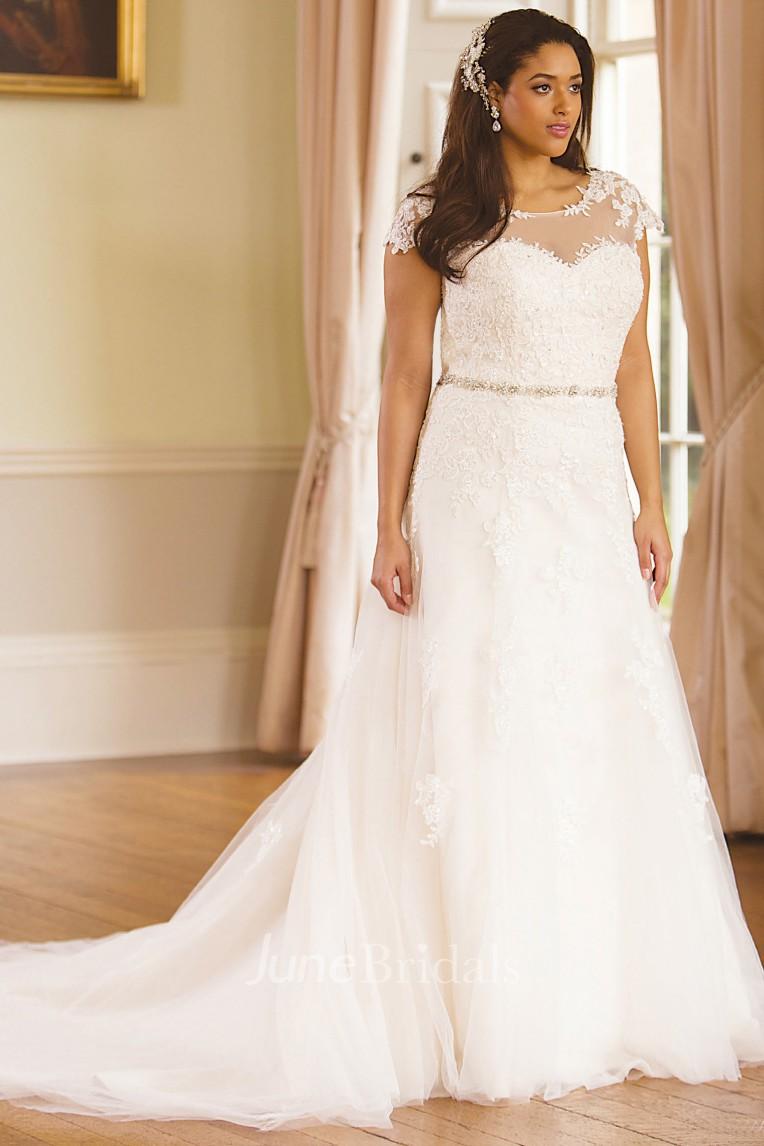 Jeweled Scoop-Neck Cap-Sleeve Lace Plus Size Wedding Dress ...
