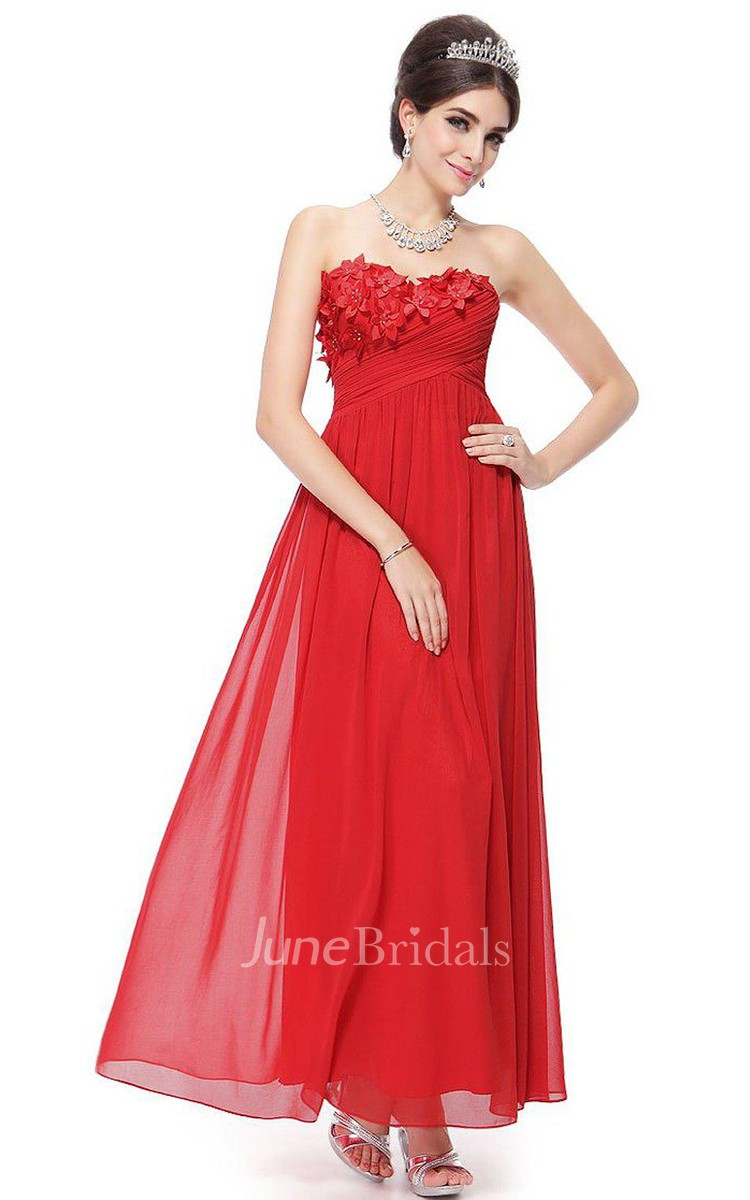 Sweetheart A Line Chiffon Dress With Floral Appliques