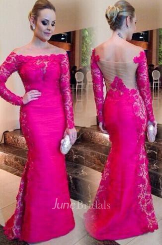 Newest Fuchsia Long Sleeve Mermaid Evening Dress 2018 Lace