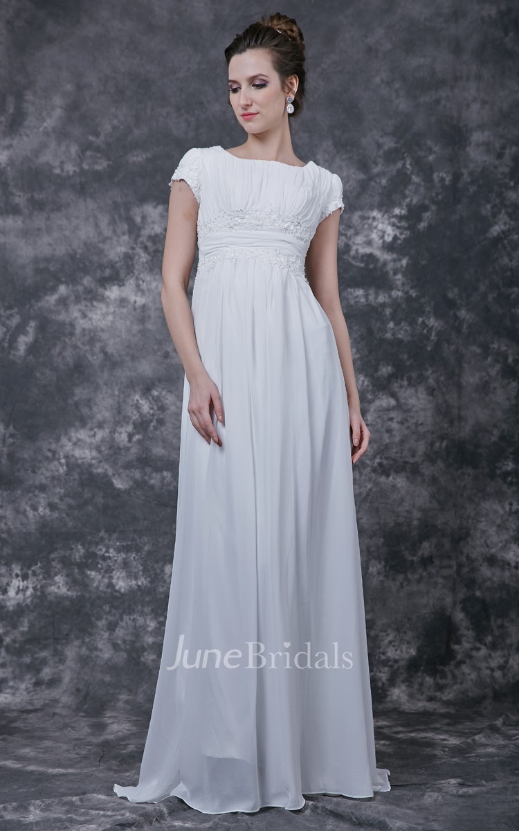 Simple ruched top with lightweight chiffon skirt june for Best wedding dress for wide shoulders