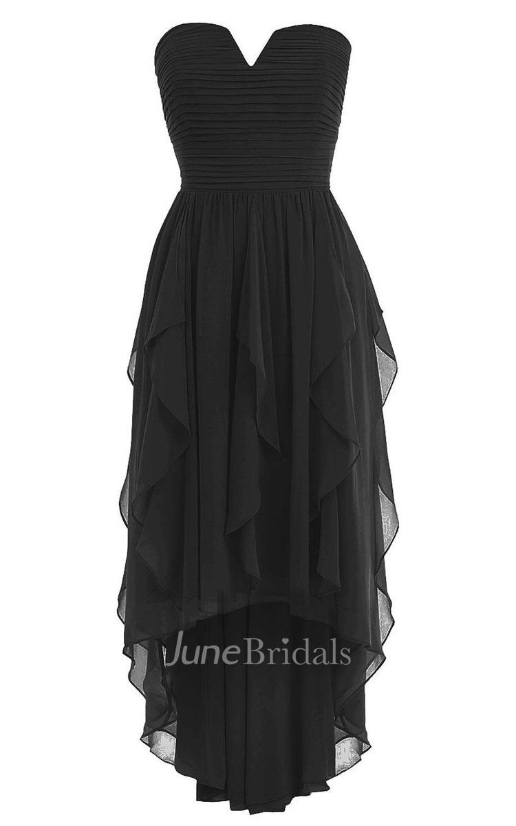 V Cut Asymmetrical Chiffon Dress With Ruffles June Bridals