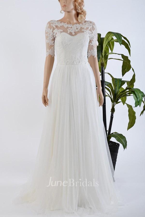 Tulle satin bowed lace bolero wedding dress june bridals for White bolero for wedding dress