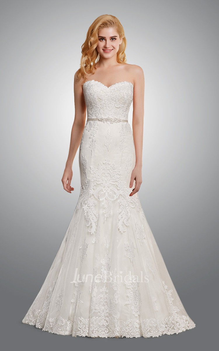 sweetheart mermaid lace wedding dress june bridals