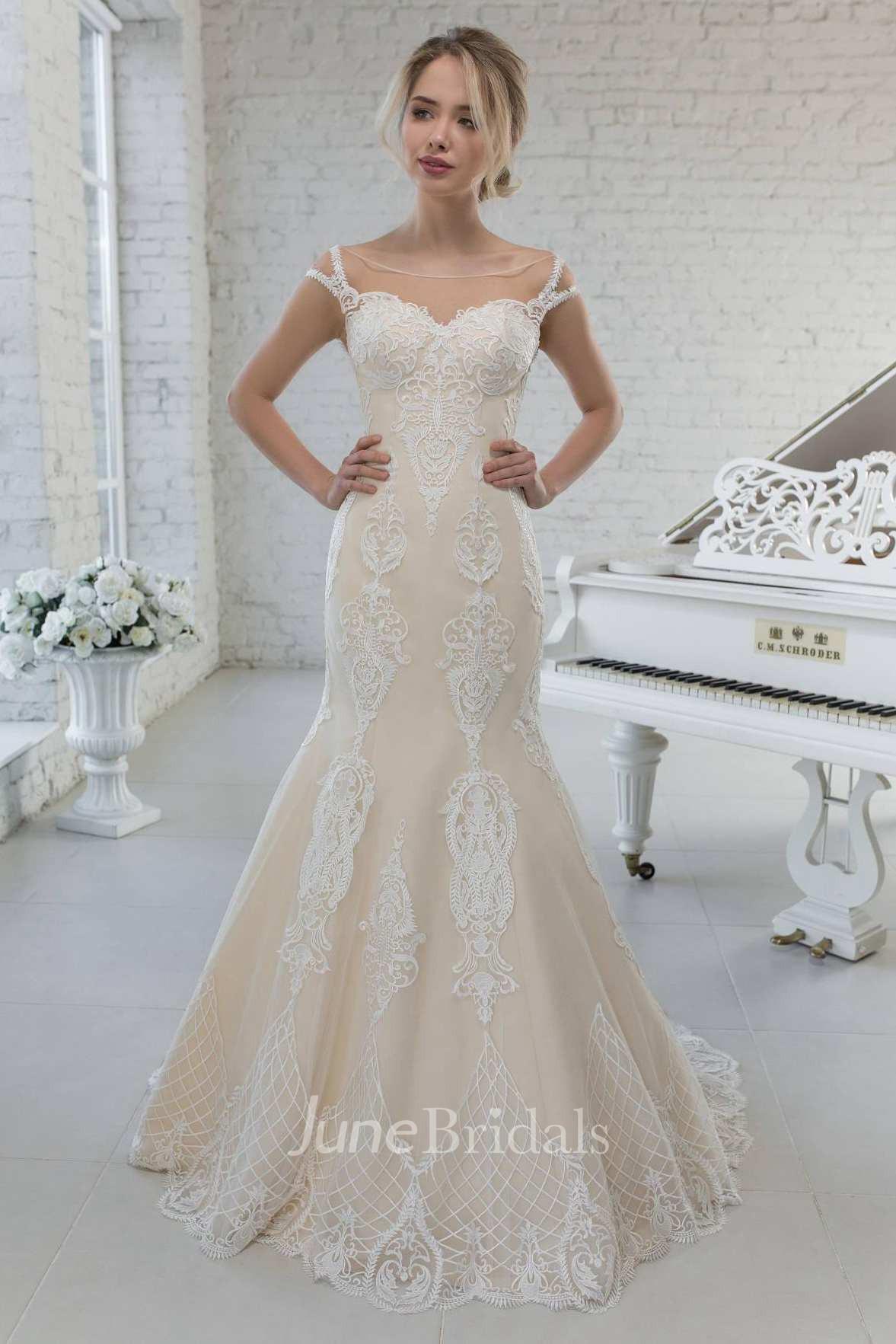 Mermaid Scoop-neck Cap-sleeve Lace Appliqued Wedding Dress ...