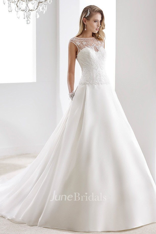 Cap Sleeve A Line Stain Bridal Gown With Lace Bodice And