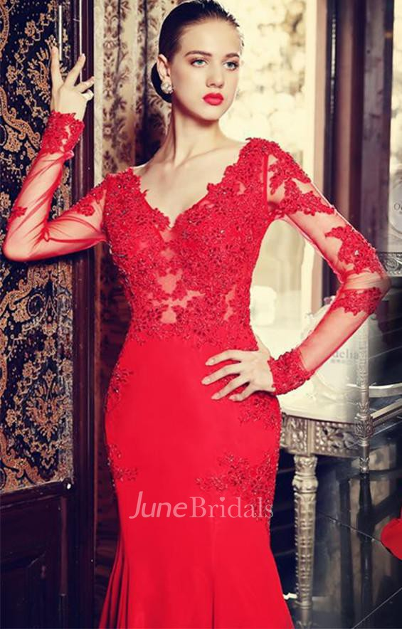 5b5481b45b9b Sexy Red Long Sleeve Mermaid Prom Dress With Lace Appliques Sweep Train -  June Bridals
