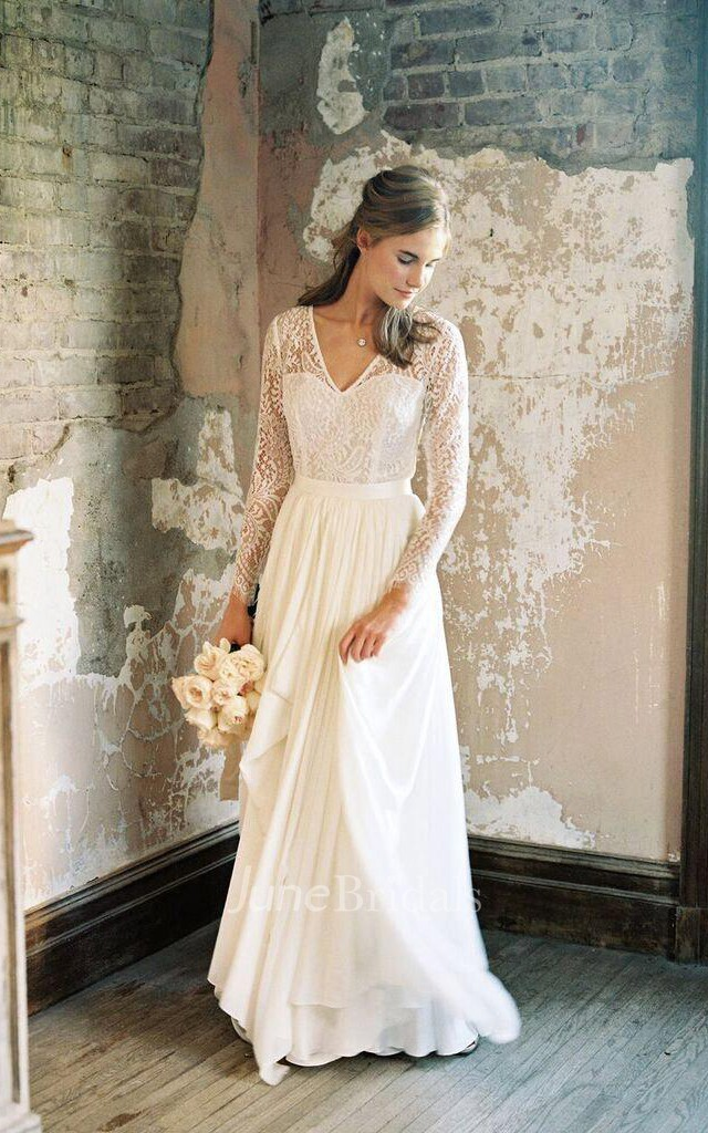 V neck illusion long sleeve dress with draping and for Casual winter wedding dresses with sleeves