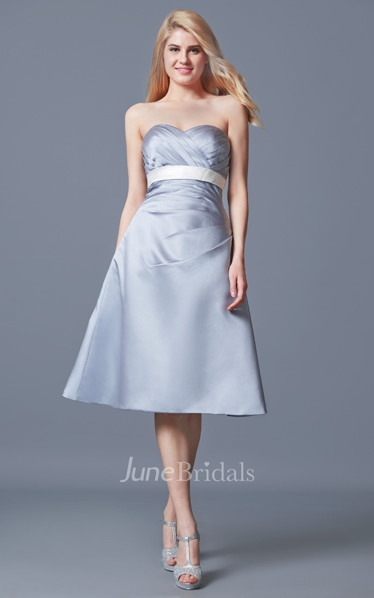 Strapless Ruched A Line Satin Tea Length Satin Dress