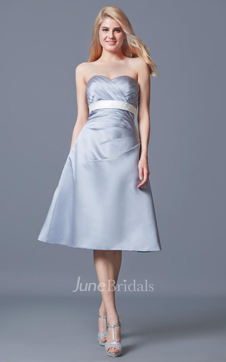 Strapless Ruched A Line Satin Tea Length Satin Dress