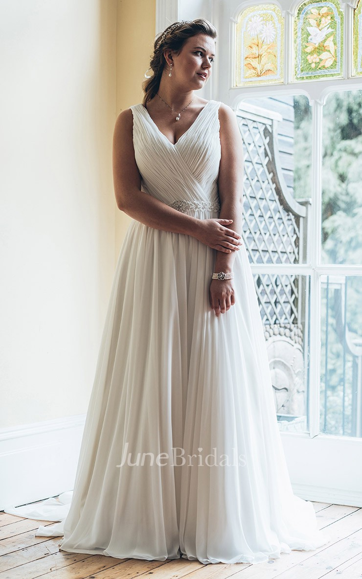 A line long v neck sleeveless chiffon court train waist for Wedding dresses for larger figures