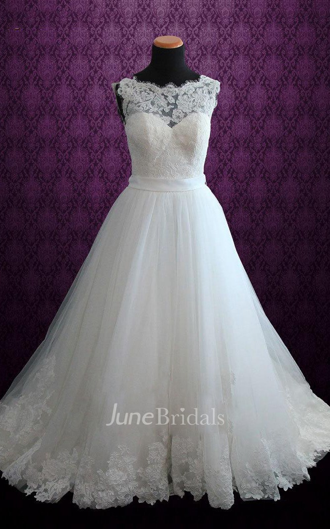 89dd4cd56d197 Ball Gown Tulle Lace Satin Weddig Dress With Illusion - June Bridals