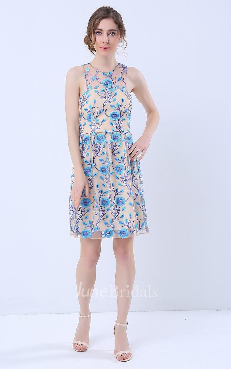 Printed Halter Neck Short Dress With Keyhole Back June