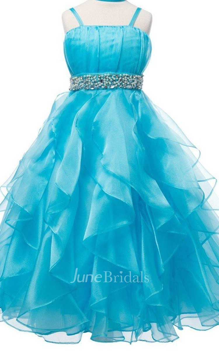 Sleeveless A Line Ruffled Dress With Beadings June Bridals