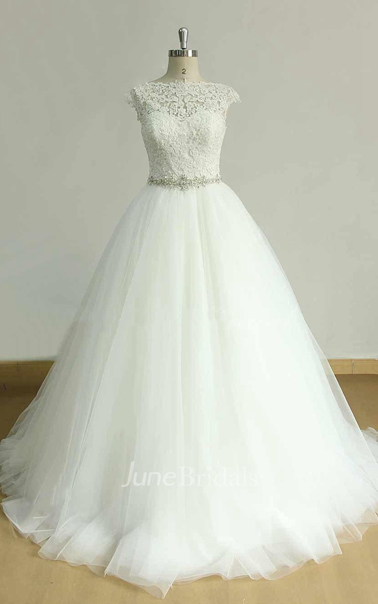 Cap sleeve tulle lace dress with beading sash ribbon for Lace cap sleeve keyhole back wedding dress