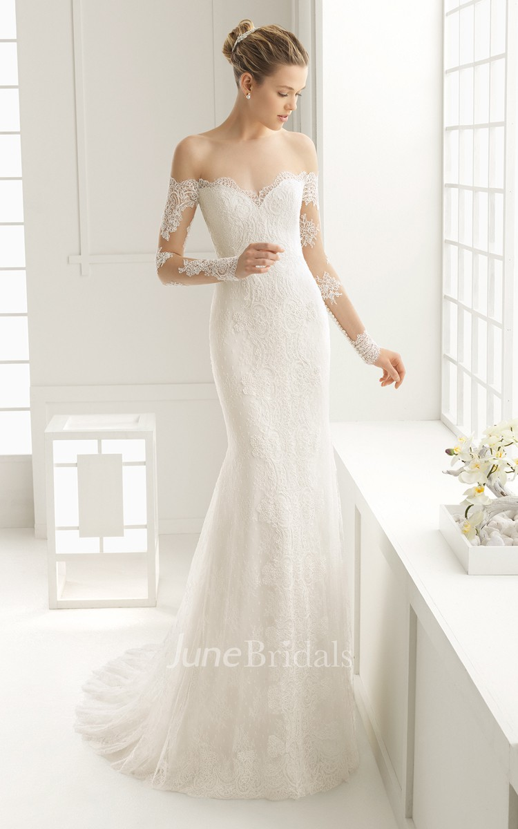 086dd4543ce08 Off Shoulder Long-sleeved Sweetheart Backless Court Train Lace Dress - June  Bridals