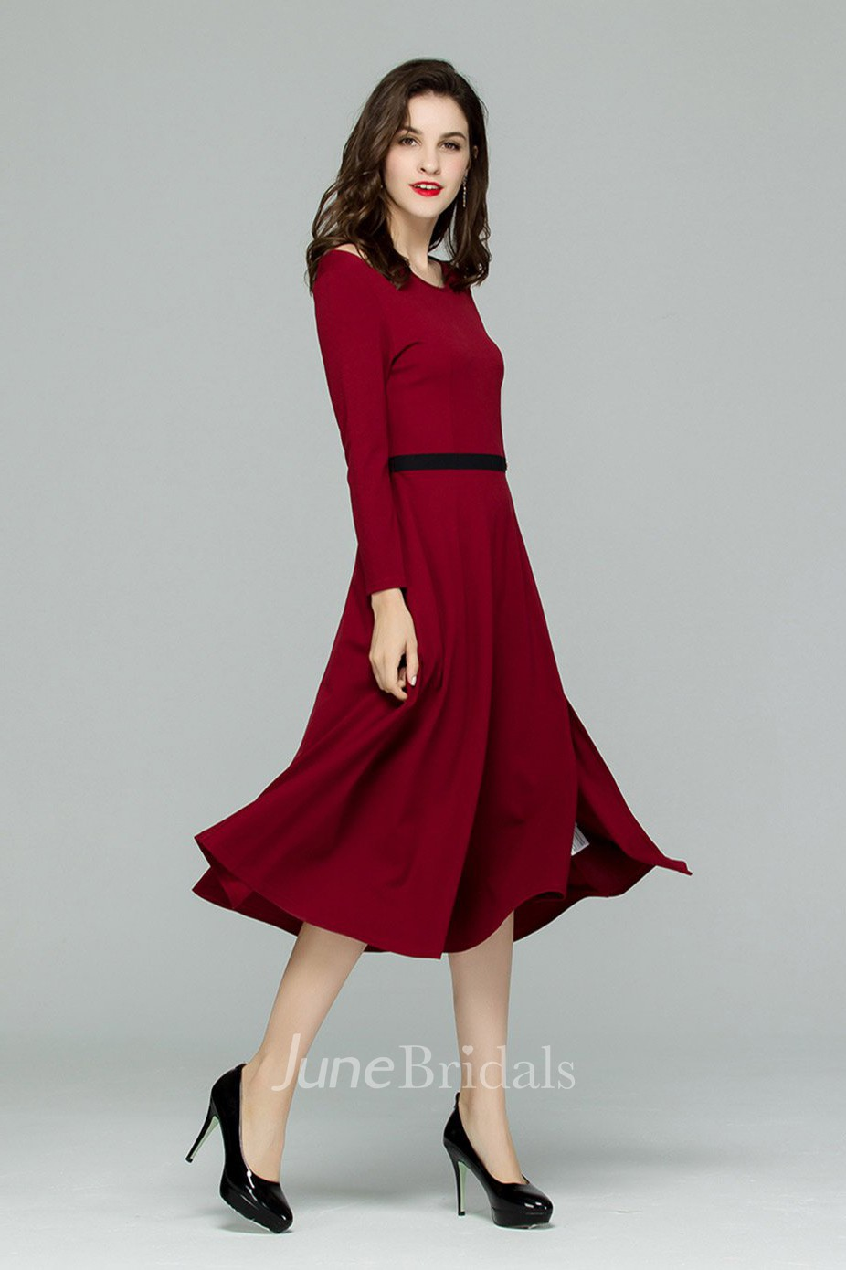Burgundy Long Sleeve Cutout Midi Dress With Slit June