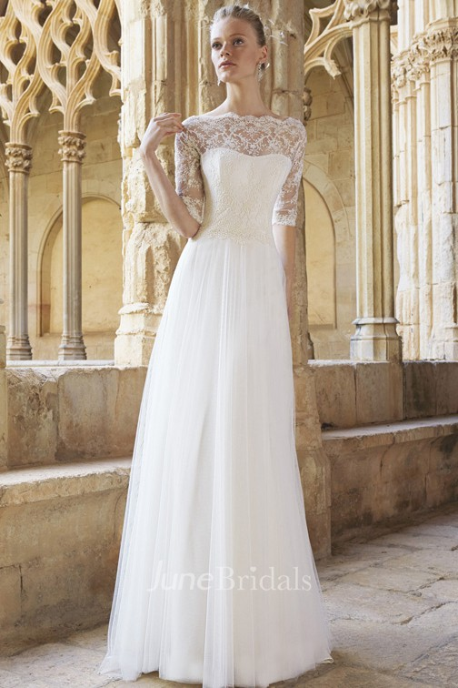 A Line Floor Length Half Sleeve Lace Bateau Neck Tulle