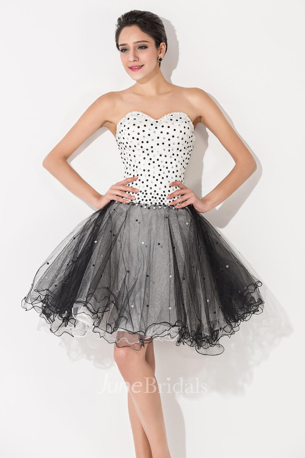 Glamorous Tulle Black And White Homecoming Dress