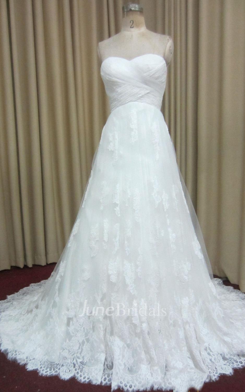 Long a line criss cross wedding dress with lace trim and for Wedding dress with blue trim