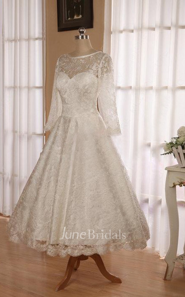 Jewel 3 4 length sleeve low v back tea length lace wedding for Wedding dresses tea length with sleeves