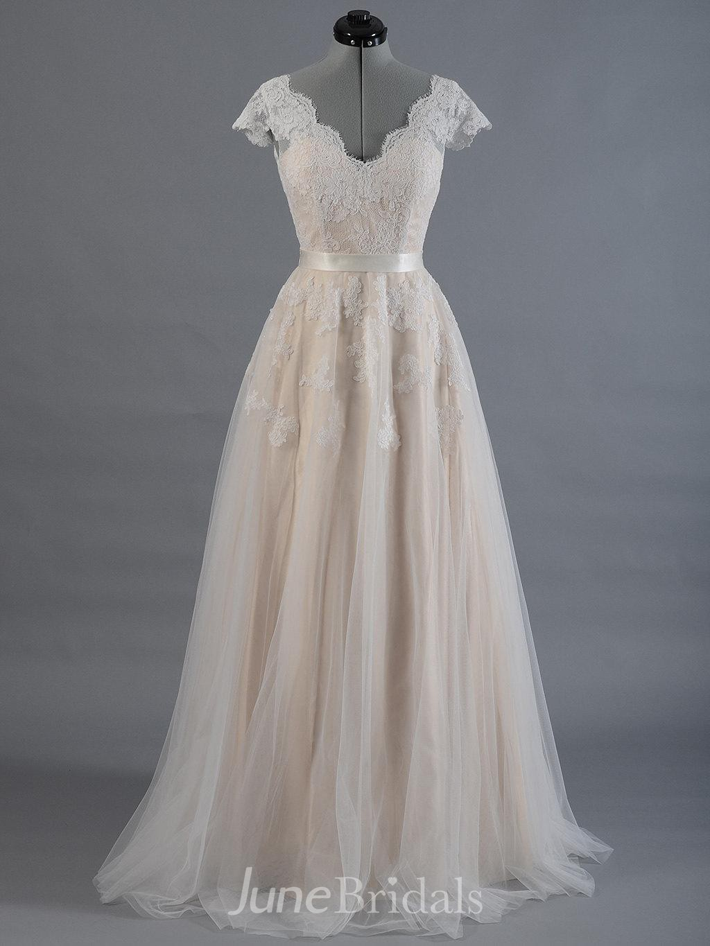 c0d2a4d11688 Cap Sleeve V-Neck Lace Wedding Dress With Tulle Skirt and V-Back - June  Bridals